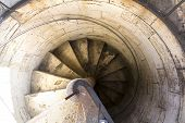 foto of bannister  - The Old spiral stairway in Siena - JPG