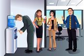 picture of chat  - A vector illustration of business people chatting near a water cooler in the office - JPG
