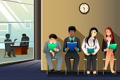 picture of interview  - A vector illustration of business people waiting for their turn to be interviewed - JPG