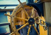 foto of steers  - Steering wheel of the ship - JPG