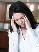 picture of neurology  - Woman having migraine headache - JPG