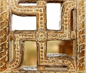 picture of swastika  - Details of ancient Victory tower - JPG