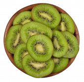 stock photo of fruit bowl  - Sliced kiwi fruit in a wooden bowl on a white background - JPG