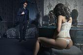 image of intimacy  - Sexy couple in dark bedroom - JPG