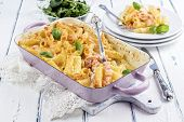 stock photo of pasta  - Salmon Pasta Bake - JPG