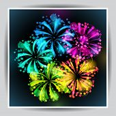 stock photo of salute  - Background with bright colorful fireworks and salute - JPG