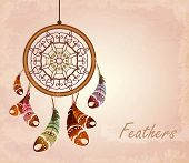 image of dream-catcher  - Vector illustration of romantic dream catcher with feathers - JPG