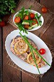 pic of salmon steak  - Baked salmon steak with lemon and herbs - JPG