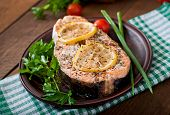 image of salmon steak  - Baked salmon steak with lemon and herbs - JPG
