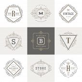 stock photo of flourish  - Monogram logo template with flourishes calligraphic elegant ornament elements - JPG