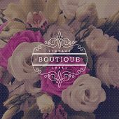 stock photo of boutique  - Boutique logo template with flourishes calligraphic elegant ornament frame on a flowers background  - JPG
