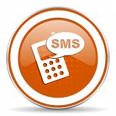 stock photo of sms  - sms orange icon phone sign  - JPG