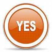 stock photo of yes  - yes orange icon   - JPG