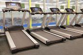 picture of treadmill  - image of treadmills in a fitness hall - JPG