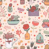 stock photo of house-plant  - Awesome floral seamless pattern made of different house plants in pink colors - JPG