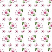 foto of azalea  - Cute flowers of azalea seamless pattern on white background - JPG