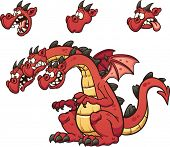 stock photo of dragon head  - Three headed cartoon dragon - JPG
