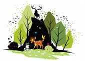 picture of bambi  - Illustration of Bambi and rabbit in forest - JPG
