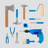 picture of hammer drill  - Set of vector signs of tools - JPG