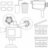 picture of popcorn  - Set of movie line objects including old video camera - JPG