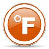 pic of fahrenheit thermometer  - fahrenheit orange icon temperature unit sign  - JPG