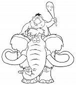 Постер, плакат: Black And White Happy Caveman Over Mammoth