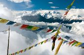 pic of ganesh  - view from Langtang to Ganesh Himal with prayer flags - Nepal ** Note: Soft Focus at 100%, best at smaller sizes - JPG