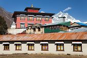 picture of buddhist  - Tengboche gompa with Mount Everest and Lhotse  - JPG