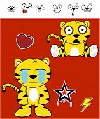 stock photo of cute tiger  - cute tiger funny expressions cartoon set in vector format very easy to edit - JPG