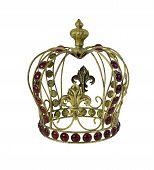 picture of embellish  - Red Gem Embellished Golden Crown  - JPG