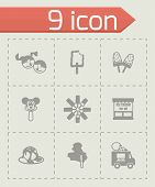 stock photo of ice cream parlor  - Vector Ice cream icon set on grey background - JPG
