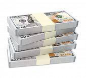 picture of bundle money  - Dollars money isolated on white background - JPG