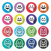 pic of halloween characters  - Vector round icons set for Halloween  - JPG