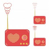 foto of heart sounds  - Heart Radio on white Background with Copy Space for Text - JPG