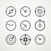 foto of speedometer  - Different slyles of speedometers vector collection - JPG