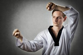 image of karate-do  - Image of a teakwon do master in self defense position - JPG