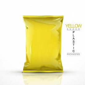 foto of packages  - yellow snack plastic packaging isolated on white background - JPG