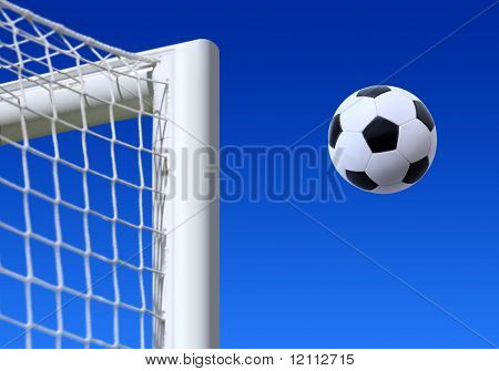football entering the net scoring