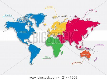 Постер, плакат: world map continents colors vector Individual separate continents Europe Asia Africa America , холст на подрамнике