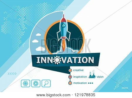 Innovation Design Concepts For Business Analysis Planning Consulting Team  Work Project Management. Innovation Concept On Background With Rocket.  Poster.