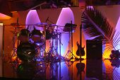 picture of night-club  - night club lighting with colourful lamp on stage - JPG