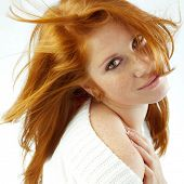 pic of red hair  - Sexy girl with red hair and freckles posing on white studio background - JPG
