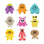 Постер, плакат: Set Of Cartoon Funny Smiley Monsters Collection Of Different Monsters Characters