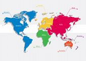 Постер, плакат: world map continents colors vector Individual separate continents Europe Asia Africa America