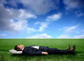 stock photo of sleeping beauty  - Business man sleeping on a grass field - JPG