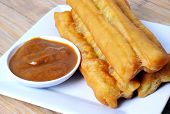 Постер, плакат: Chinese fried bread stick with coconut jam