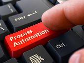 Постер, плакат: Process Automation Clicking Red Keyboard Button