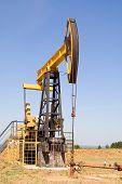 image of nonrenewable  - oil pump jacks working at dawn - JPG