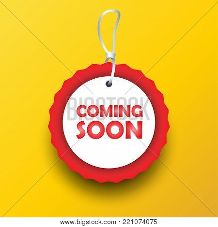 Coming Soon Label Gift Tag Decorative Modern Frame Sticker Logo