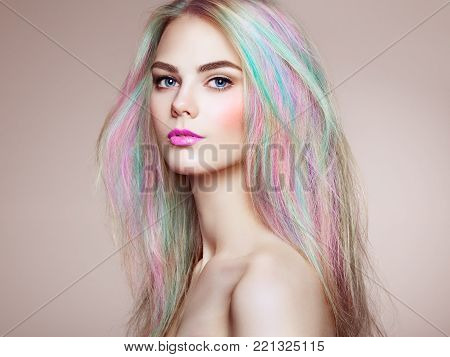 poster of Beauty Fashion Model Girl with Colorful Dyed Hair. Girl with perfect Makeup and Hairstyle. Model with perfect Healthy Dyed Hair. Rainbow Hairstyles